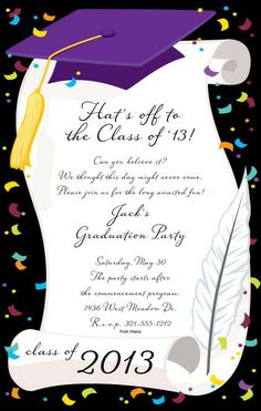 Purple Cap and Diploma by paper so pretty #classof2014 #graduationinvitation