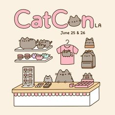 Have you heard about CatConLA? It's a convention just for cat people! If you're in the LA area this weekend, be sure to come visit us at the Pusheen booth! There will be tons of cat themed shops, famous feline guests, and a whole bunch of kitties. Gato Pusheen, Pusheen Love, Pusheen Shop, Chat Kawaii, Kawaii Art, Pusheen Stormy, Cute Kawaii Drawings, Cat People, Kawaii Wallpaper