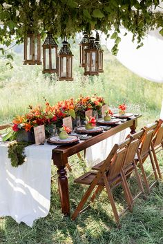 hanging lanterns over the reception table, photo by Brooke Michaelson. Table is so sweet! Reception Table, Reception Decorations, Event Decor, Wedding Table, Table Decorations, Wedding Napkins, Gown Wedding, Woodland Wedding, Rustic Wedding