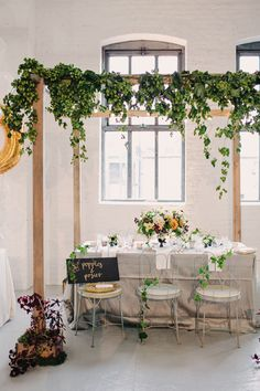 leafy arbor indoors + garden table by Poppies and Posies for The Cream Event NYC {outdoor-inside reception table setting} Wedding Vendors, Wedding Reception, Wedding Table, Wedding Blog, Wedding Stuff, Dream Wedding, Wedding Ideas, Weddings, Wedding Decorations