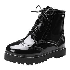 Lace Up Wingtip Ankle Boots ($39) ❤ liked on Polyvore featuring shoes, boots, ankle booties, black ankle bootie, lace-up booties, laced up boots, short black boots and lace-up bootie