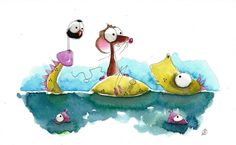 Original watercolor painting whimsical Dragon mouse going down river #IllustrationArt