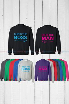She is the Boss & He is the Man - Matching Couple Sweatshirt - His and…