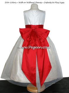 FLOWER GIRL DRESSES in Antique White Pure Gold and Christmas Red | Pegeen ~ Located 1 mile from Disney World, Selling online and shipping worldwide. Call us for design help! 407-928-2377