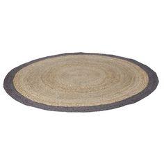 WOOOD vloerkleed sisal naturel met grijze rand rond 200 cm, alles voor je klus om je huis & tuin te verfraaien vind je bij KARWEI