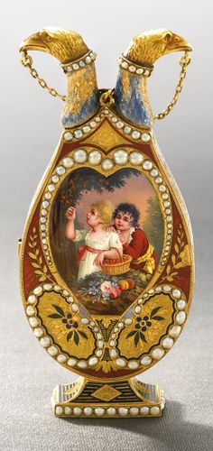a gold enamel and pearl double scent flask in the form of an urn with watch and automaton scene for the Chinese market. The Automaton probably by Piguet & Capt and the Enamel by Jean-Louis Richter, Geneva, circa 1800 | sotheby's