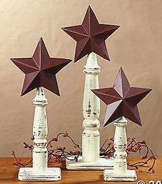 New 3 Rustic Barn Stars on Spindles Americana Country Home Decor **