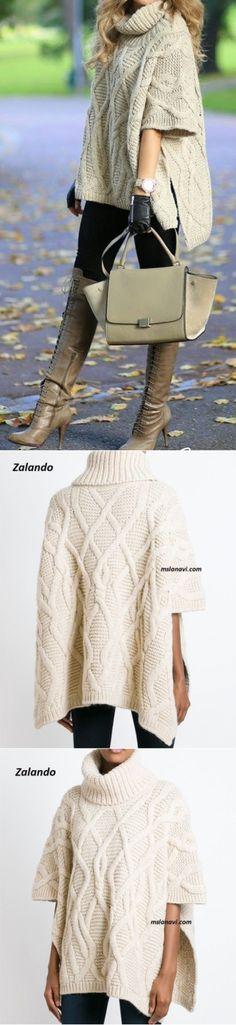 Вязаное пончо спицами | Вяжем с Лана Ви