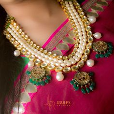 Layered with kundans and pearls, this gorgeous beauty in an innovative design speaks volumes of glamour and grace. At Joules by Radhika.  #JoulesByRadhika #Jewellery #Necklace #MakeAStatement #Neckpiece #StatementNecklace #Innovative #Design #SemiPrecious #Luxurious #WeddingJewellery #DesignerJewellery #IndianDesigner #Grace #Glam #Instalike #Instalove #Mumbai #India