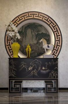 Classical Chinese style porch decorating the Villa effect chart 2016 Chinese Interior, Asian Interior, Home Interior, Chinese Design, Asian Design, Chinese Style, Asian Inspired Decor, Asian Home Decor, White Console Table