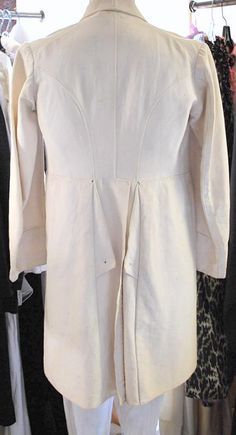 1850-60 RARE GENTS WHITE SUMMER FROCK COAT SPLIT TAIL RIBBED COTTON