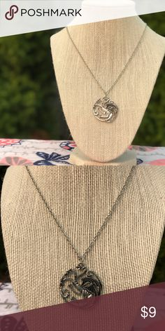 Game of Thrones House Targaryen Necklace Silver 19 in lobster clasp chain 1.5 in pendant Silver color chain and pendant Jewelry Necklaces