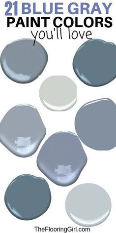 I love these blue gray paint colors. They are perfect for bedrooms living rooms family rooms and bathrooms. Super stylish for home decor. These colors are calming and chic. They range from bluish-gray to grayish-blue. - June 09 2019 at Bluish Gray Paint, Blue Gray Paint Colors, Bedroom Paint Colors, Interior Paint Colors, Paint Colors For Living Room, Paint Colors For Home, House Colors, Paint Colours, Blue Gray Walls