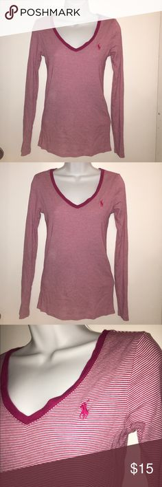 Polo Long Sleeve V-Neck Soft and comfy polo vneck. Worn once. In great condition. Polo by Ralph Lauren Tops Tees - Long Sleeve