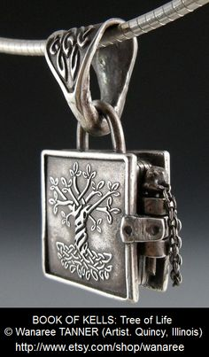 BOOK OF KELLS: Tree of Life © Wanaree TANNER (Artist. Quincy, Illinois). Original designs. Hand-crafted Jewelry for sale via Etsy. Stock and custom orders.  Metal Clay. Necklace, Pendant.