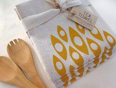 #Handmade Modern Shapes - Tea Towel - Screen Printed