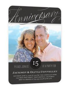 Wedding Anniversary Invitations: Today and Yesterday, Rounded Corners, Silverfoil