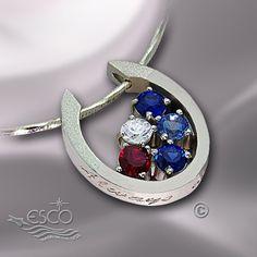 Sterling Silver Multi-Stone U Shaped Pendant - Necklaces - Celebrate America