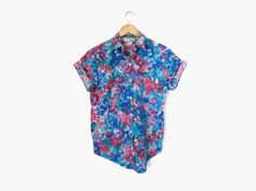 Bright Blue and Pink Floral Collared Shirt / 90s Short Sleeve Button Up    Vintage c. 1990s    boxy / flower print / hipster style / spring + summer fashion