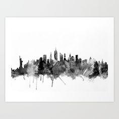 Watercolor art print of the skyline of New York City, United States. new york, new york skyline, new york city...