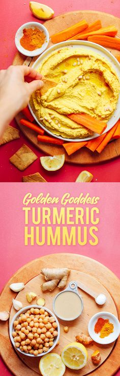 GOLDEN Goddess Hummus! 30 minutes. Ingredients: chickpeas, lemon juice, tahini, garlic, ginger, turmeric, sea salt