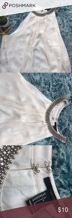 Natural Beaded Chiffon Halter Top Large In excellent condition beautiful sequin top size L runs like a M Tops Blouses
