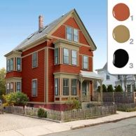 """The Red SchemeColor consultant Susan Maycock first suggested brick-red siding with taupe trim and black accents. But the homeowners weren't smitten. """"The red felt a little too 'Victorian' for us,"""" says Sally. Benjamin Moore's Baked Clay (1), Baked Cumin (2), and Black (3)."""