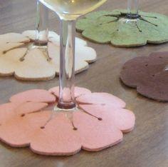 Slip-On Wine Glass Coasters- I am sssoo making these!!! Looks like an eazy-peezy project-love it
