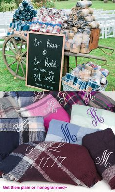 If you're planning a fall wedding, you may want to offer wedding blankets for guests. But finding cheap wedding blanket favors isn't easy if you don't know where to look! That's why we couldn't wait to share these wedding blankets we spotted at. Wedding Favours To Keep, Wedding Gifts For Guests, Unique Wedding Favors, Unique Weddings, Wedding Decorations, Beach Wedding Favors, Wedding Keepsakes, Handmade Wedding, Outdoor Wedding Favors