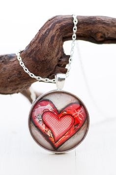 Red Heart Pendant Necklace - Valentine Gifts for Her - Love Necklace - Gift Ideas for Girlfriends - Gifts for Women - Photo Jewelry