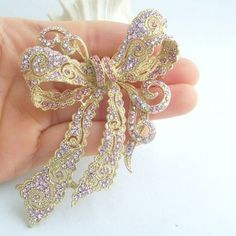 "4.13"" Pretty Bowknot Flower Brooch Pin w Pink Rhinestone"