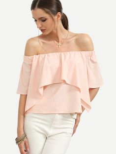 Shop Pink Off The Shoulder Ruffle Blouse online. SheIn offers Pink Off The Shoulder Ruffle Blouse & more to fit your fashionable needs.