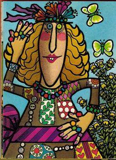 Maggy Scraggle Loves the Beautiful Ice-Cream Man - Jill McDonald. Ice Cream Illustration, Children's Book Illustration, Jill Mcdonald, Ice Cream Man, Word Pictures, Psychedelic, Childrens Books, Book Art, Retro