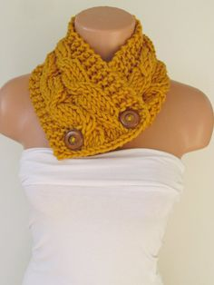 Hand Knitted Mustard Cowl Scarf With Wooden by zeynepstyle on Etsy