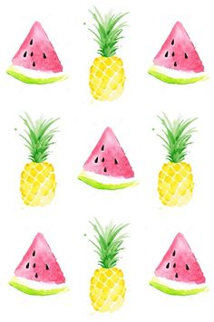"""Pineapple & watermelon background Más cool pineapple wallpaper pineapple wallpaper on…""""Pastel Pineapple"""" design by Emanuela Carratoni…Who doesnt love a bright bold yellow pineapple? Summer Backgrounds, Cute Wallpaper Backgrounds, Pretty Wallpapers, Cool Wallpaper, Pattern Wallpaper, Iphone Wallpaper, Print Wallpaper, Pineapple Backgrounds, Trendy Wallpaper"""