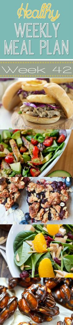 A delicious mix of healthy entrees, snacks and sides make up this Healthy Weekly Meal Plan #41 for an easy week of nutritious meals your family will love! #Healthy #MealPlan #Menu