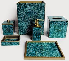 Blue Mosaic Bathroom Accessories Sets Design Ideas