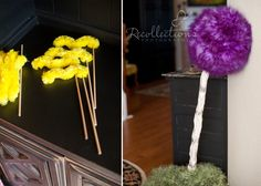 My daughter's Lorax party.full of ideas from my Lorax Party board with a few twists of my own. Truffula trees, mustaches, and more! Truffula Trees, The Lorax, Twists, Children, Kids, To My Daughter, Birthday Parties, Party Ideas, Decorations