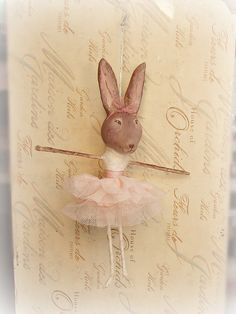shabby chic vintage inspired ballerina bunny by sugarcookiedolls, $30.00