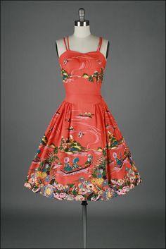 vintage 1950s dress . cotton . asian novelty print . 3273