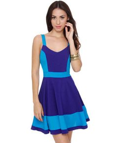 Pool Party Color Block Blue Dress