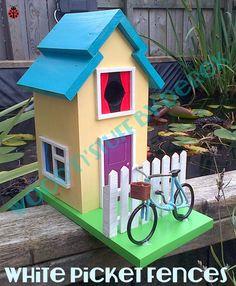 White Picket Fence Birdhouse by WoodnStuffbyDerek on Etsy