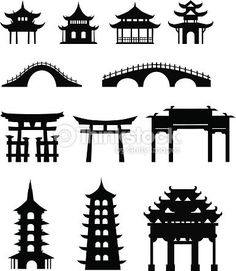 Pagoda Silhouette Chinese Asian Temple Shrine Relic Stock Vector Leremy