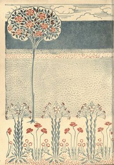 A floral fantasy in an old English garden. Walter Crane illustration.
