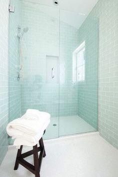 Bathroom glass subway tile  -Frosted Sage.