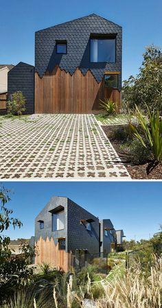 Schieferplatten Fassade mit Holz für einen originellen Effekt kombiniert