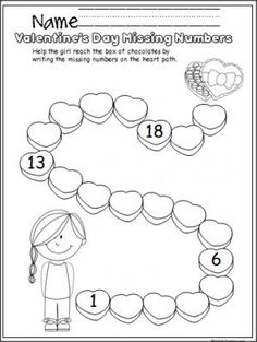 Free Valentine's Day number writing practice activity.  Write the missing numbers from 1 to 20 on the hearts.