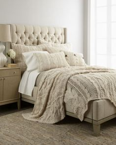 We love layering textures in a neutral palette room. Loving this chunky knit coverlet. Comes in gray as well and huge European pillows. Nap anyone?
