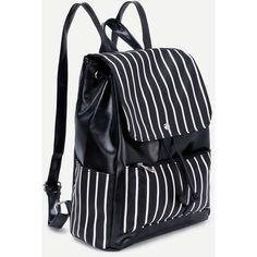 SheIn(sheinside) Faux Leather Stripes Drawstring Flap Backpack (870 INR) ❤ liked on Polyvore featuring bags, backpacks, drawstring flap backpack, drawstring knapsack, stripe backpack, draw string bag and flap backpack