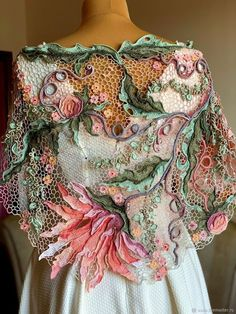 Col Crochet, Freeform Crochet, Crochet Art, Crochet Motif, Crochet Shawl, Crochet Flowers, Crochet Stitches, Crochet Leaves, Crochet Edgings